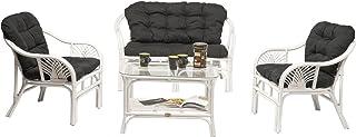 Rotin Design Rebajas : -25% Salón de Ratan Soller Blanco Moderno: 1 sofá, 2 sillonesy 1 Mesa