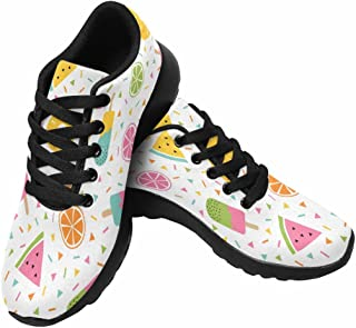 INTERESTPRINT Women's Athletic Running Shoes Outdoors Lace Up Fashion Sneakers