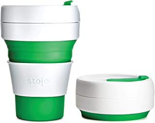 Stojo ST1-12OZ-COF-GRN-RET 869623000107 Collapsible Coffee Cup, Silicone, Green, 5 x 9 x 9 cm, Pocket 12oz