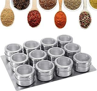 GoMaihe Pot Epices Cuisines Lot de 12, Pots à Épices Magnétique en Acier Inoxydable Boîtes à Épices Réservoir Assaisonneme...