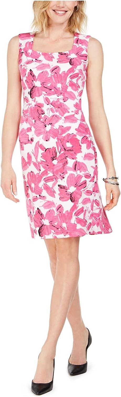 Kasper Women's Monet Floral Printed Crepe Square Neck Dress