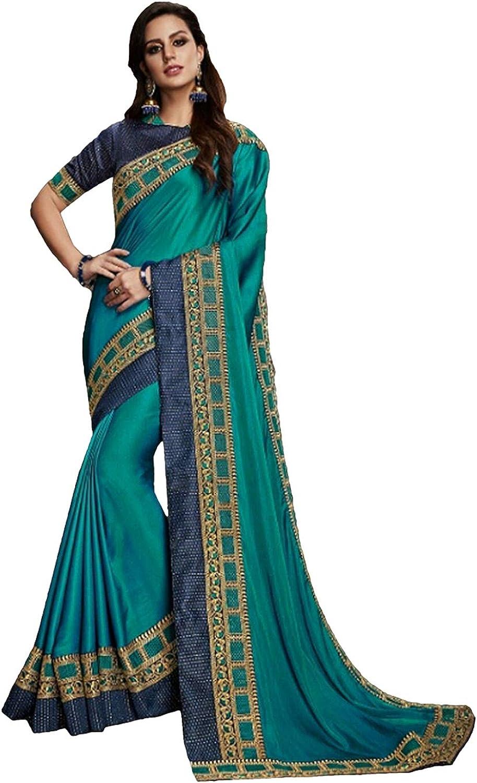DesiButik's Party Wear Magnificent bluee Satin Silk Saree