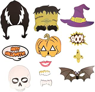 Un ncie PIXNOR Halloween Photo Booth Props Skull Witch Hat Pumpkin Bat Butterfly Party Decor, Pack of 12