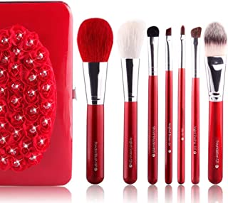 Blending Blush Concealer Eye Face Liquid Powder Cream Cosmetics Brushes Kit with Bag 7Pieces Makeup Brush Set Make-Up Tools (Color : Red, Size : Free)