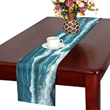 WHIOFE Original Oil Painting Showing Ship Boat in Ocea Table Runner, Kitchen Dining Table Runner 16 X 72 Inch Dinner Parties, Events, Decor