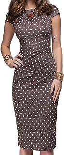 3ec1bc4bdb39c1 Vestito Donna Elegante ❤ ABCone Donna Vestiti da Donna Eleganti Stampato A Pois  Maniche Corte