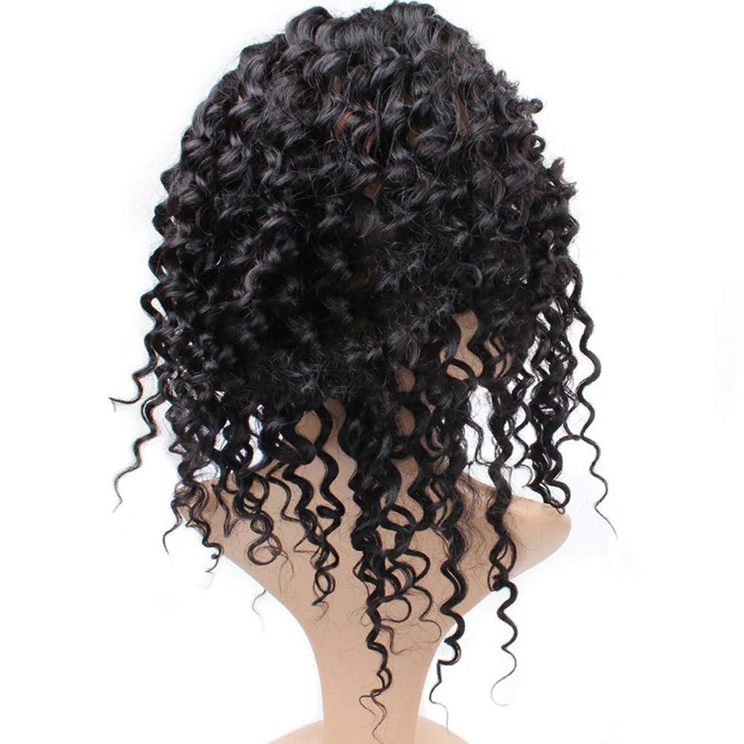 氏視力何でもMayalina 7Aディープウェーブ360レース前頭かつら事前に摘み取らヘアラインナチュラルカラー人毛ウィッグ黒人女性用(8 ' - 22' '、225%密度)パーティーウィッグ (色 : 黒, サイズ : 20 inch)