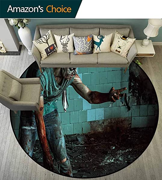 Zombie Machine Washable Round Bath Mat Dead Man In The Old Abandoned House Nightmare Bloody Fantasy Art Scenery Non Slip No Shedding Bedroom Soft Floor Mat Diameter 59 Inch Teal Charcoal Grey