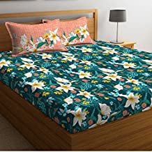 Portico York Marvella Printed Cotton 144 TC Elastic Fitted Bedsheet with 2 Pillow Cover-King Size(8045142)-Multicolor-182X198 cm