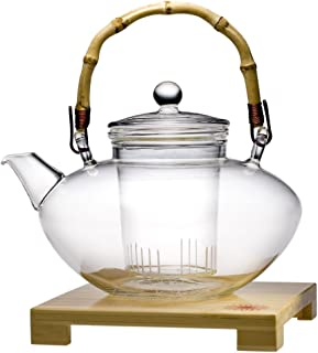 glass teapot bamboo handle