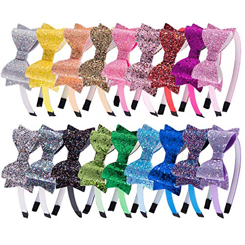 SIQUK 18 Pieces Glitter Headbands with Bow Colorful Teeth Plastic Headband with Shiny Bow for Girls
