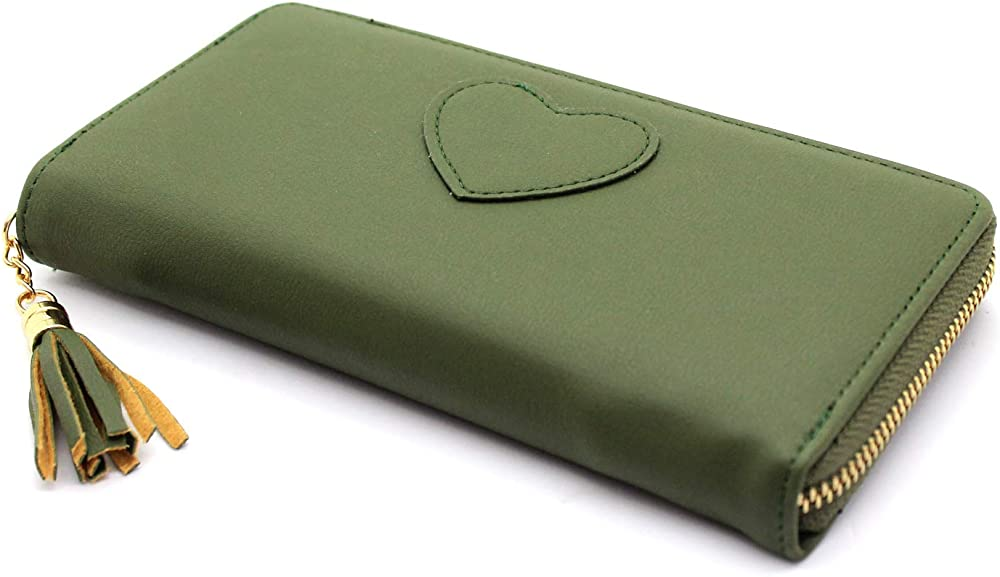 Portafoglio da donna con cerniera zip con porta carte di credito in pelle sintetica verde
