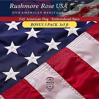Rushmore Rose USA American Flag: 100% American Made US Flag - Embroidered Stars and Sewn Stripes (Bonus 3 Pack)