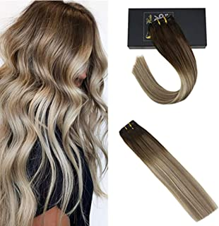 Sunny Clip in Hair Extensions 18 inch Clip in Hair Extensions Human Hair Brown Clip in Remy Human Hair Dark Brown Mix Golden Blonde and Platinum Blonde 7pcs 120g
