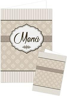 20PIEZA Beige Marrón Crema de farbene Ornament vacías a rayas en blanco menú Tarjetas llano tarjeta para escribir y Imprimir, A5pie geklappt y A4para la Impresora, mesa decorativa para todos los fija