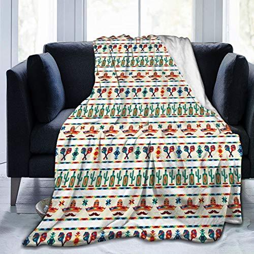 Manta suave y esponjosa, con borde indígena de Saguaro Sombrero tequila, súper suave, manta de microforro polar, manta para dormitorio, cama, TV, manta de cama de 80 x 60 pulgadas