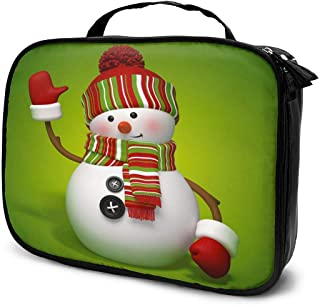 Cosmetic Bag Green Snowman Christmas Travel Makeup Bag Anti-wrinkle Cosmetic Case Multi-functional Storage Bag Large Capacity Makeup Brush Bags Travel Kit Organizer Women's Travel Bags