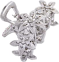 ShungFun Women Elegant Jaw Clips Fashion Hollow Carving Flower Pattern Hair Claw Clips w/Rhinestones for Women Girls Hair Styling Accessories (Silver)