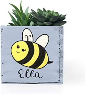 Personalized Bumble Bee Succulent Planter Box