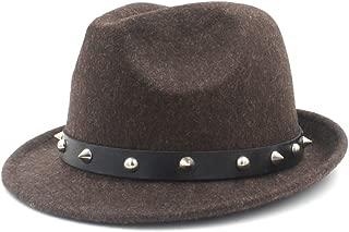 SGJFZD Elegant Lady Dad Cashmere Trilby Homburg Church Jazz Hat with Punk Belt 100% Wool Women Men Fedora Hat for Winter Autumn (Color : Coffee, Size : 57-58cm)