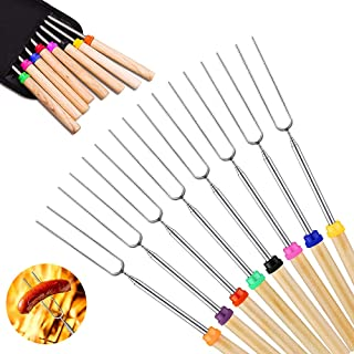 Deamos Marshmallow Roasting Sticks 8 pcs with Wooden Handle Extendable Barbecue Forks, Smores Skewers for Camping Picnic B...