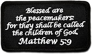 Bastion Tactical Combat Badge Military Hook and Loop Badge Embroidered Morale Patch - Matthew 5:9 (Black)