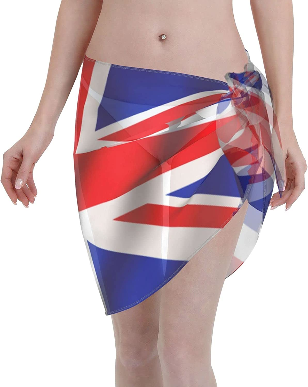 British Flag Women Beach Short Sarongs Cover Ups Beach Swimsuit Wrap Skirt Black
