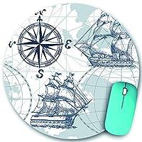 PATINISA ラウンドマウスパッド、シェイプボートシーマップヴィンテージレトロワールドアンティークセイルスケッチコンパスエンシェント、PC ノートパソコン オフィス用 円形 デスクマット、ズされたゲーミングマウスパッド 滑り止め 耐久性が 200mmx200mm