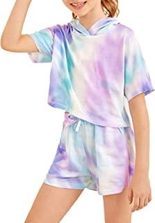 طقم ملابس للبنات تاي داي ملابس من قطعتين للاسترخاء وبدلة رياضة رياضية وبلوزات وبلوزات بقلنسوة، وسراويل قصيرة مقاس 10