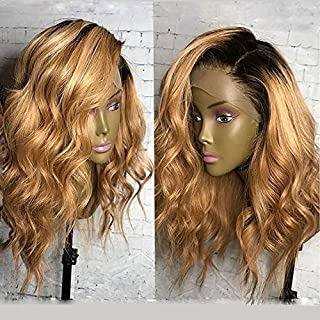KRN Lace Front Ombre 27 Honey Blonde Lace Front Wigs Brazilian Human Hair Loose Curly Wave Full Lace Wigs For Black Women (16 Inch, 150% Density Lace Front Wig)