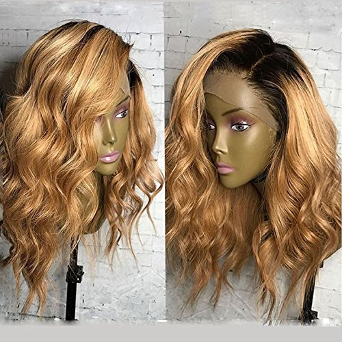 KRN Ombre 1B/27 Honey Blonde Lace Front Wigs Brazilian Human Hair Loose Curly Wave Full Lace Wigs For Black Women (16 Inch, 150% Density Lace Front Wig)