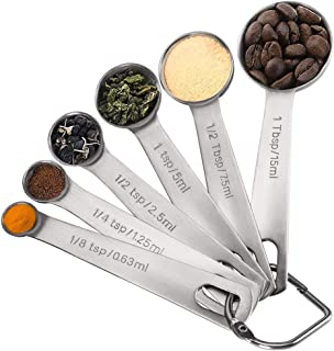 NEXCURIO Measuring Spoons, Premium Heavy Duty 18/8 Stainless Steel Measuring Spoons Cups Set, Small Tablespoon with Metric...