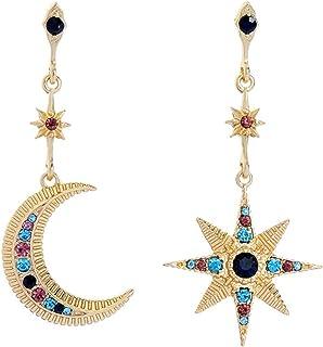 AILUOR Pendientes de aro colgantes de estrella y luna de cristal, pendientes de gota de sol y estrella de luna plateada, p...