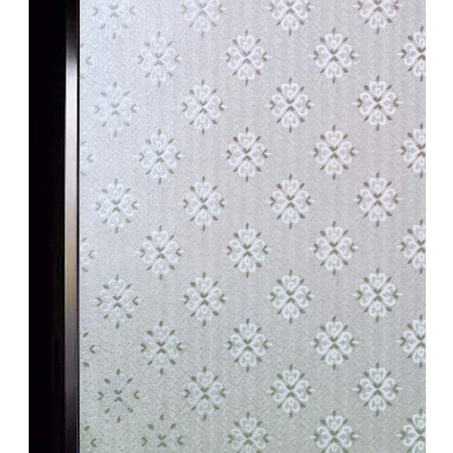 アクチュエータ敬意めったにDUOFIRE 窓 めかくしシート 窓ガラス 目隠しシート 窓用フィルム 窓ガラスフィルム ステンドグラス シール はがせる 断熱 紫外線UVカット 飛散防止 浴室 風呂 玄関目隠し 水で貼る 貼り直し可能 おしゃれ 北欧花柄 (0.6M X 2M) DF258-001