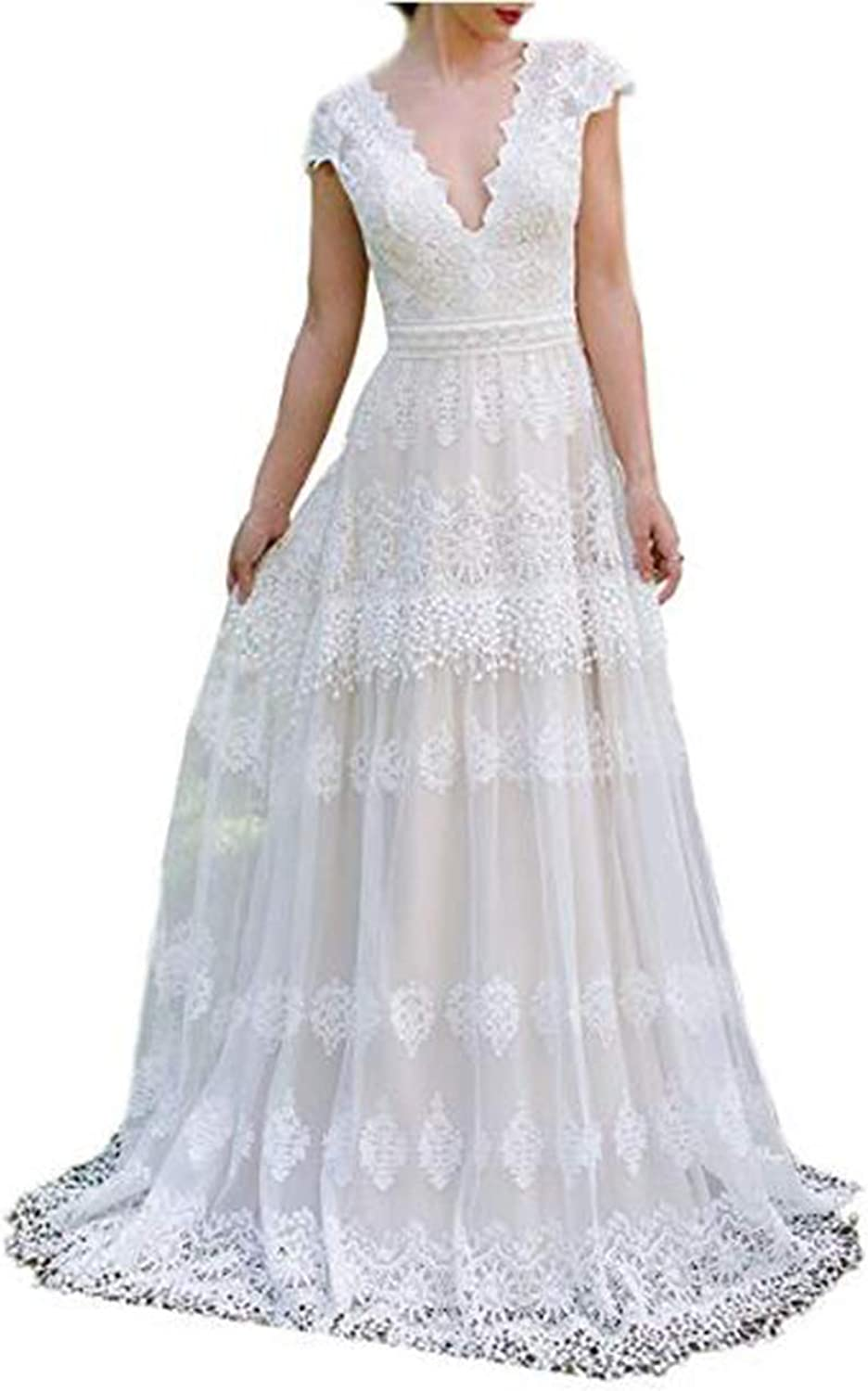 Alilith.Z Sexy V Neck Boho Wedding Dresses for Bride 2018 Appliques Lace Bohemian Bridal Gowns for Women