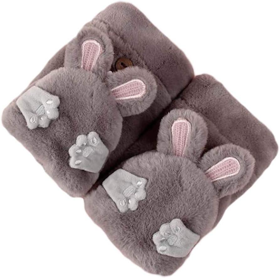 Panda Legends 1 Pair Winter Gloves Warm Lining Flip Mittens Cute Rabbit Ear Cozy Fingerless Winter Gloves, Grey
