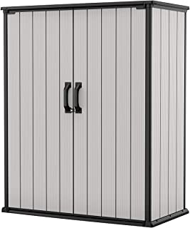 Keter Premier Tall Resin Outdoor Storage Shed with Shelving Brackets for Patio Furniture, Pool Accessories, and Bikes, Gre...