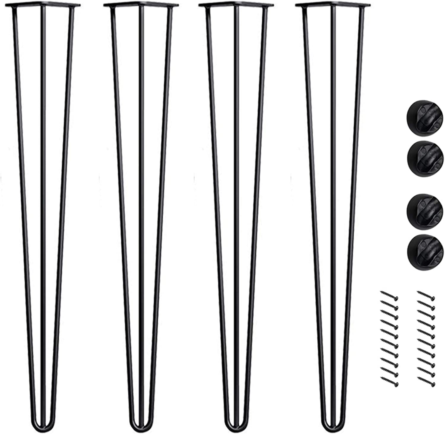 Bronkey 4PCS Vintage Industrial Style Hairpin Legs, 28  Three Rods 3 8  Solid Bar Construction Design, Black Steel Metal Heavy Duty Table Leg, for DIY Living Room TV Stand Sofa Coffee Shop Decoration