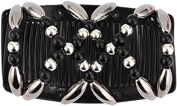 RingBuu Hair Comb - Ladies Women Elastic Hairpin Stretch Double Magic Hair Comb Handmade Beaded Hair Clip Bun Maker DIY Styling Tool 3 Colors