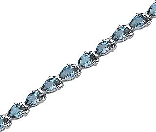 9.50 Carats London Blue Topaz Bracelet Sterling Silver Pear Shape