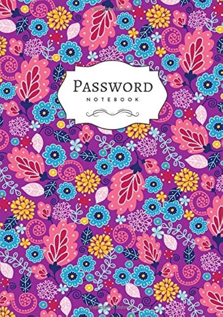 逆さまに騒乱退屈なPassword Notebook: B5 Login Journal Organizer Medium with A-Z Alphabetical Tabs   Large Print   Fairly Tale Floral Design Purple