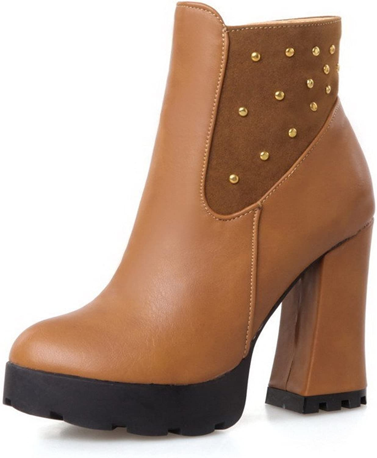 Laolaooo shoes Women's Low top Solid Zipper Round Closed Toe High-Heels Boots