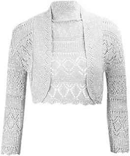 Ladies Girls Crochet Metallic Lurex Cropped Bolero Shrug US Size 6-12