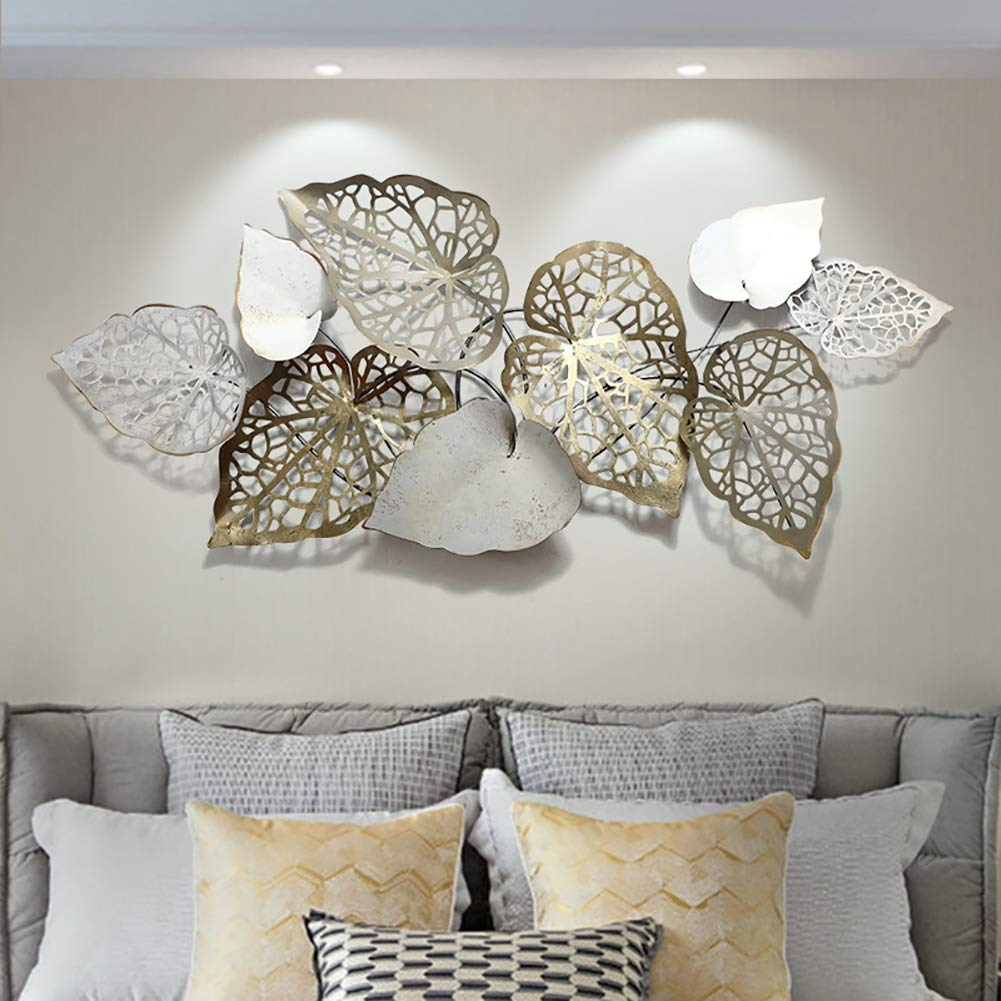 Creative Handmade Leaves Metal Wall Art, Nature Home Art Decoration &  Modern Light Luxury Kitchen Gifts - for Study/Living Room/Bedroom/Artwork/Hotel  : Amazon.in: घर और किचन