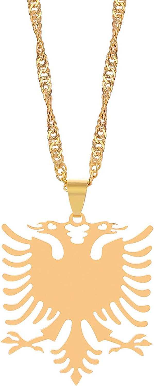 Crystal-heart-store 2PCS Albanian Eagle Necklace Stainless Steel Ornament Sweater Clavicle Chain for Men Women