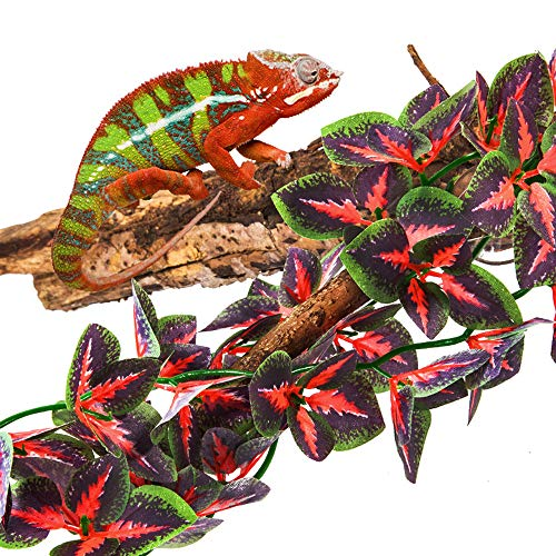 fivebull Reptiles Plants Amphibian habiet Realistic Leaves?Reptile Leaves Artificial Flowers with Suction Cups Decoration, Aquarium D