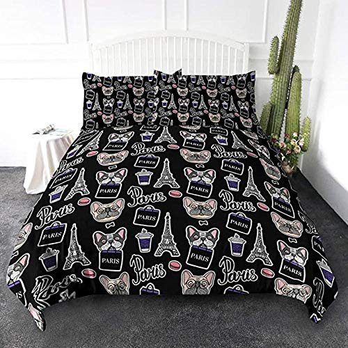 HUAJIE Bedding Set 3 Piece,Eiffel Tower Duvet Cover Cute French Bulldog Shopping In Paris Funny Design Black And White Chic,2 Pillow Shams For Sports Fans(No Comforter)