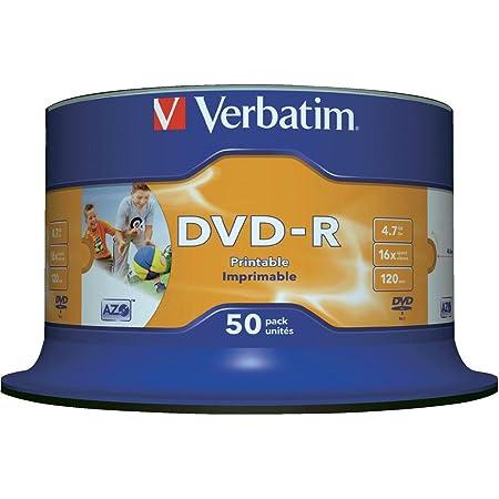 Verbatim Dvd R 16x Wide Inkjet Printable Spindle Pack Computers Accessories