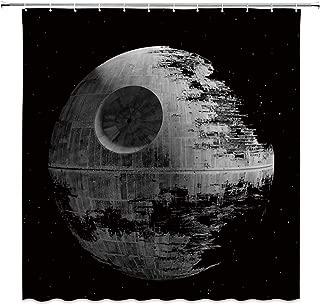Star Decor War Shower Curtain Death Stars Black Grey Fabric Bathroom Curtains,70x70 Inch Polyester with Hooks