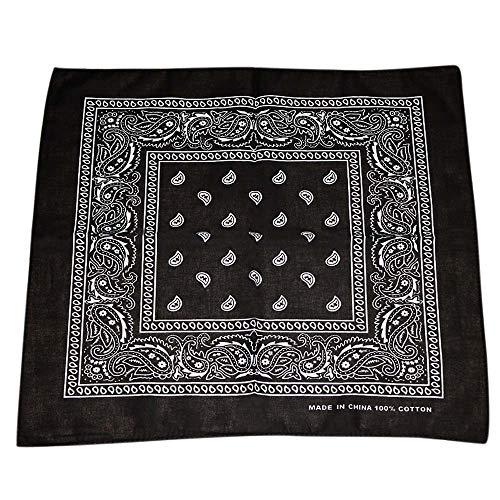 Andouy Bandana Kopftuch Halstuch Paisley Muster Einstecktücher Handgelenk Multifunktionstuch für Damen und Herren (55X55CM.Schwarz)